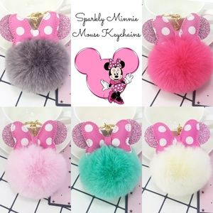 Minnie Mouse Polka Dot Ears on a Pom Pom Keychain